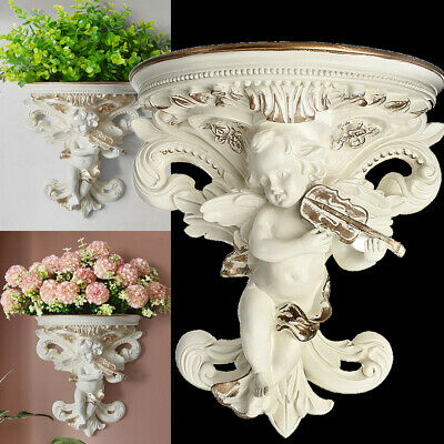 Cupid Angel Plaster Corbel Shelf Resin Figurine Top Flower Insert Wall Art Decor