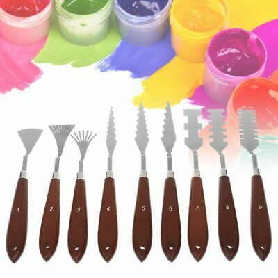 9X Stainless Steel Artist Oil Painting Palette Knife Spatula Paint Pallet Art