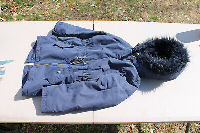 H&M Girls Youth Size 8-9 Hooded Full Zip Jacket Navy