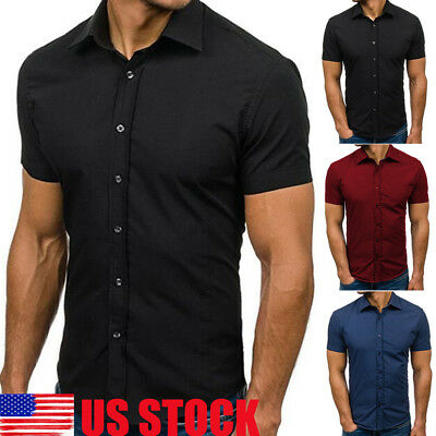 Mens Short Sleeve Button Down T-shirt Tops Slim Fit Casual Dress Stylish Shirts