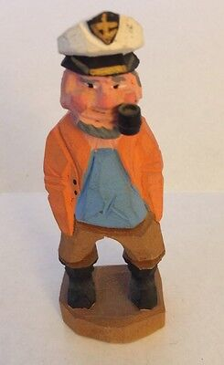 Vtg Wood Carved Figure  Pipe Fisherman/Old Salt Nautical Multi Color Find #1 Q