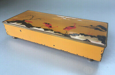 Antique German Art Deco Enamel Storks Table Cigarette Box, Dispenser, Case