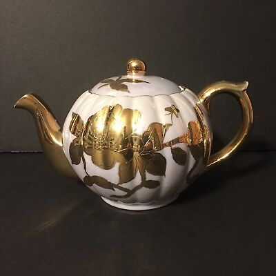 Vintage Textured Gold Accent Floral Pearl Luster Tea Pot