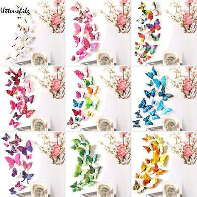 12 Pcs Three-dimensional PVC Simulation Butterfly Wall Stickers U8HE