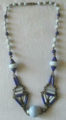 Vintage 1930S Art Deco Architectural Design Light Dark Blue Glass Beads Necklace