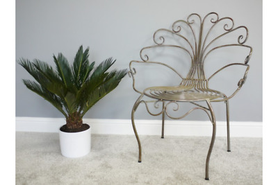 89cm Tall Dark Bronze Gold Peacock Inspired Metal Indoor Outdoor Chair