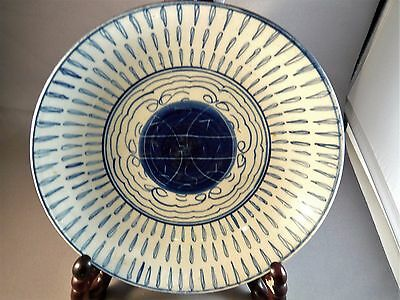 Antique Chinese Ming Ching Dynasty Blue White Porcelain Longevity Bowl Plate