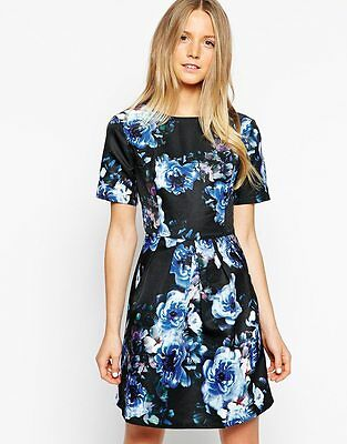 BNWT Girls on Film Blue Floral Fit & Flare Print Evening Occasion Dress Size 14