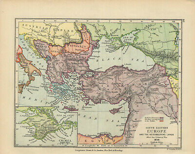 Antique Print - Map - South Eastern Europe After Crimean War, 1856