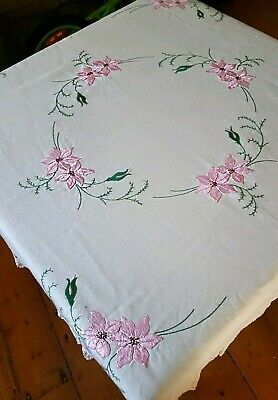 Stunning Vintage Heavily Hand Embroidered Tablecloth PINK LILIES CROCHET EDGES