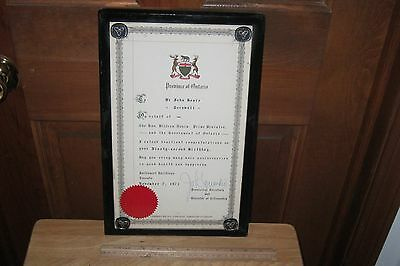 RARE DOCUMENT AFFILIATED w THE PROVINCE OF ONTARIO CANADA SIGNED BY JOHN YAREMKO