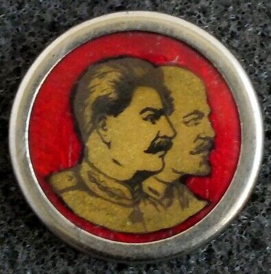 c1930's RUSSIAN STALIN & LENIN BADGE PIN. CELLULOID WITH METAL FRAME. RARE.