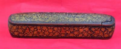 antique Islamic Qalamdan Polychome Lacquer Papier Mache Pen Case  30 x 6.7 cm w