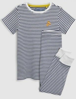 BNWT Next Girls Navy & White Striped Pyjamas - Age 7