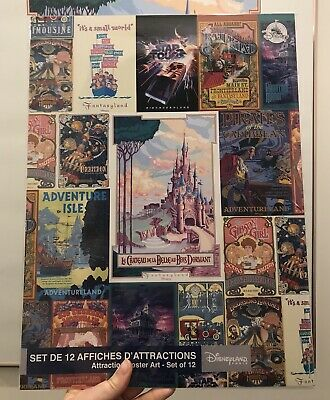 Set 12 posters affiches attractions Disneyland Paris
