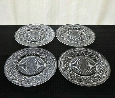 """Imperial Glass 4 Clear Cape Cod 8"""" Salad Plates"""