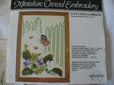 Semco Minitature Cottage Garden Flower Butterfly Crewel Embroidery Kit Threads