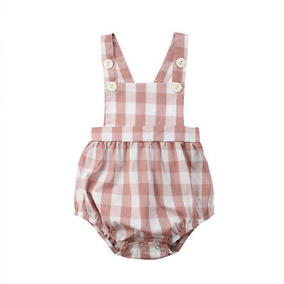 Sleeveless Plaid Toddler Baby Girls Romper Cotton Infant Kids Jumpsuit Overalls