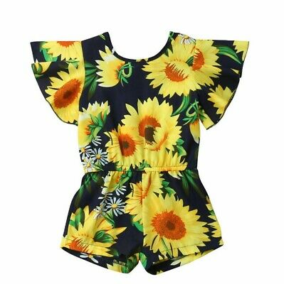 Flare Sleeve Sunflower Baby Girls Romper Summer Toddler Kids Jumpsuit Outfit