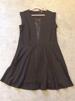 7c4876084fcb Koko Plus Sz 26 Black Sequin Bodice Skater DRESS Party Evening Occasion Fab  £45