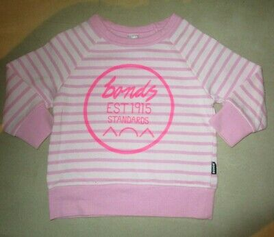 Girls Bonds pink long sleeve top  Size 1 for 12-18mths