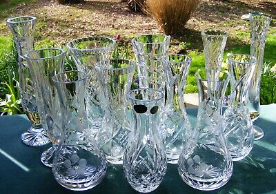 "Job Lot 12 Cut Glass Crystal Medium Bud / Posy Vases - 5 1/4"" - 8"" (13.5Cm-2.0Cm"