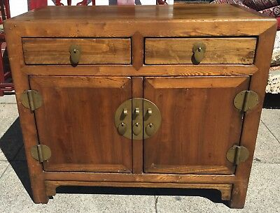 Antique Chinese Elm Wood Cabinet