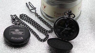 HM PRISON Engraved Crest Black Pocket Watch HMP Jail Warden Officer Gift Case