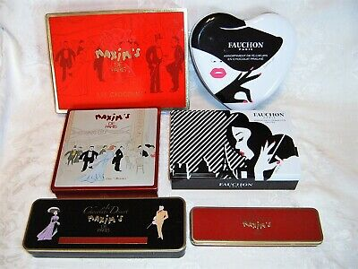 Lot of 6 French Candy Tins - Maxim's de Paris and Fauchon