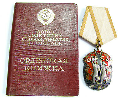 Soviet Russian Original Ussr Badge Order Of Honor Silver Enameled And Order Book