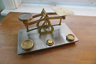 scarce Old British postal scale, brass, mailing,balance,weights, made in England