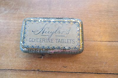 Old advertising tin, box for Huyler's glycerine tablets, for throat affections