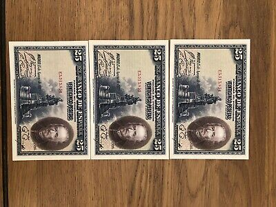 25 Pesetas banknotes X 3 consecutive a Uncirculated condition