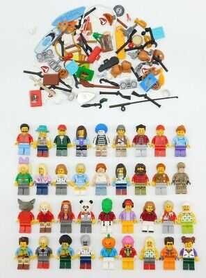 Lego 10 New Lego Minifigures Town City Series Boy Girl W/ 10 Accessories Books