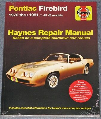 Pontiac Firebird Trans Am 1970 to 1981 2nd Gen V8 Haynes Manual Formula Esprit