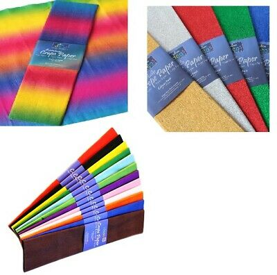 Crepe Paper 50cm wide Metallic, Plain Colours or Rainbow gift wrapping x 1 fold