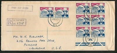 1955 South Africa Sc #218 Pretorius / Vow 4 Pairs on Registered FDC to U.S.
