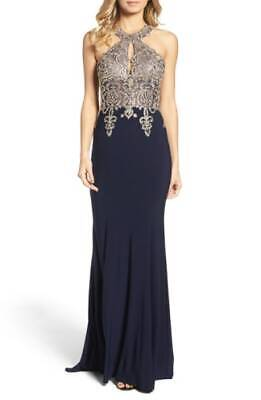 59b993051317 $319 Xscape Womens Navy Blue Gold Embroidered Halter Formal Gown Dress Size  8