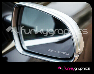 AMG NEW STYLE SMALL LOGO MIRROR DECALS STICKERS GRAPHICS x 3 IN SILVER ETCH