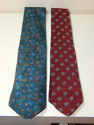 2x mens tie-up neck ties, Hortex Ireland music/radio & St Michael Italian Silk