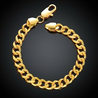 """18K Yellow Gold Plated Link Bracelet, 7.8"""" MADE IN ITALY"""