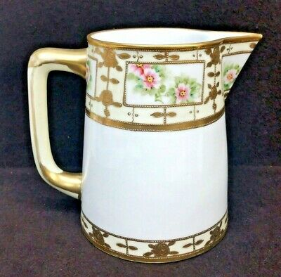 Nippon Japanese Hand Painted M Mark Moriage Pitcher Pot Floral Gild Gold