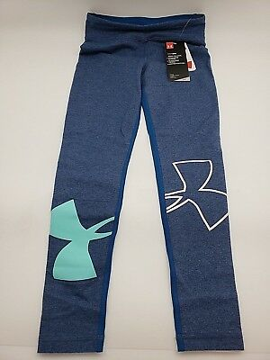 Girls Youth Under Armour Heatgear Fitted Blue Leggings YXL ~NEW~