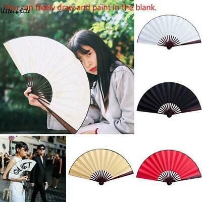 DIY Chinese Style White Cloth Folding Hand Fan Decoration Dance Party U8HE