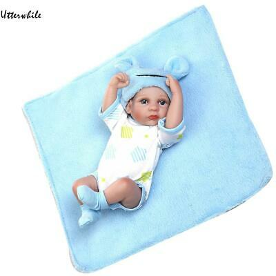 Kids Soft Silicone Realistic With Clothes Blanket Boy Reborn Baby Doll U8HE