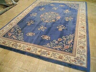 8.3x11 CHINESE RUG VINTAGE AUBUSSON NICHOLS AUTHENTIC HAND-MADE ORIENTAL RUG