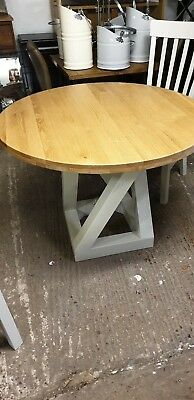 New Z Desinger Circular Oak Dining Table With Grey Painted Base Del Available