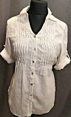 67d9062009 Ladies Lina Tomei White Linen Shirt Tunic Top Casual Spring Summer M 12