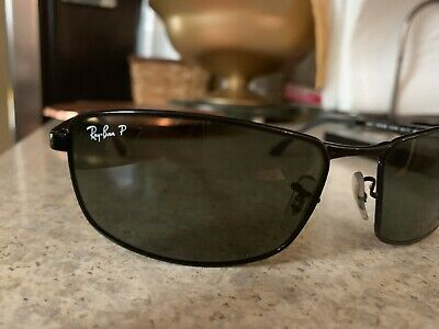 93ef96518f307 Mens Ray Ban Polarized RB3498 002 9A 64-17 Authentic Black Sunglasses Lenses