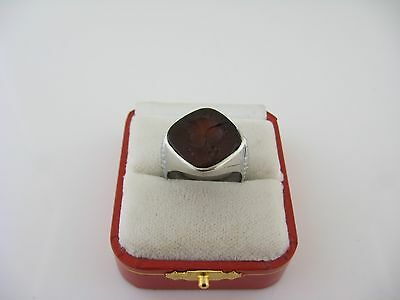 Antique Mens' Ring 10kt White Gold Carnelian Intaglio Engraved Size 9.25